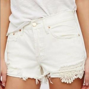 Free People Daisy Chain Lace Distressed Shorts